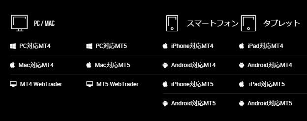 xmの取引プラットフォーム選択画面