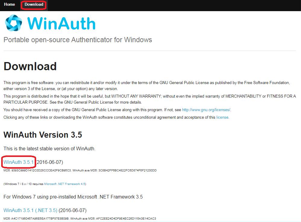 WinAuth公式サイト