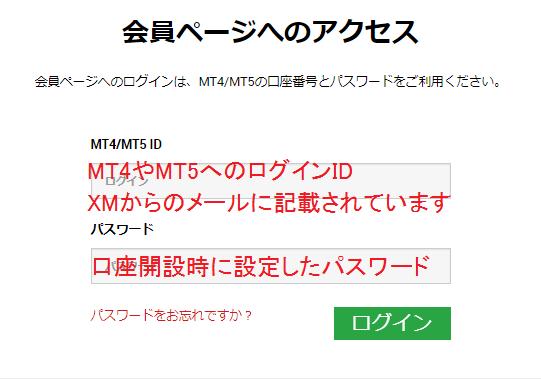 XMの会員ページログイン画面