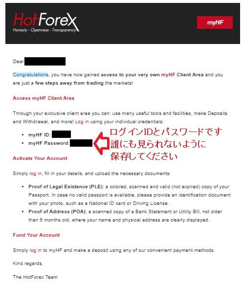 Hotforexの口座開設手順4~ログイン情報メール