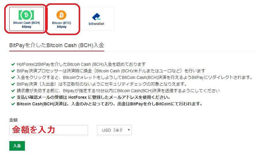 hotforexへの入金~bitcoin・bitcoincashの金額を入力~